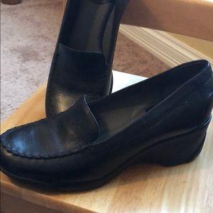 Nurture black wedge slip on shoes